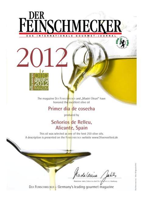 Señoríos de Relleu entre los mejores aceites del mundo por la Revista Alemana Der Feinschmecker