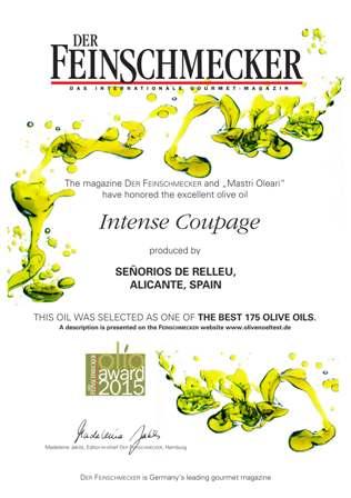Olio Award 2015. Uno de los 175 mejores aceites de oliva